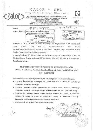 SRL CALOR --: - Dosare Info Romania