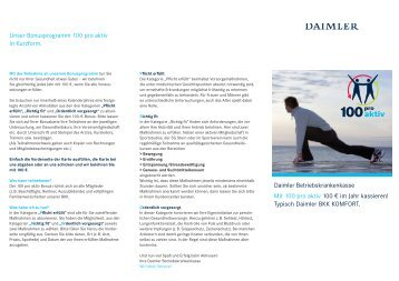 Unser Bonusprogramm 100 pro aktiv in Kurzform ... - Daimler BKK