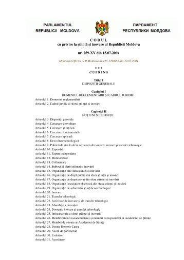 C O D U L cu privire la ştiinţă şi inovare al Republicii Moldova nr ...