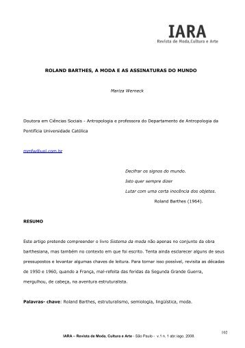 roland barthes, a moda e as assinaturas do mundo - IARA - Revista ...