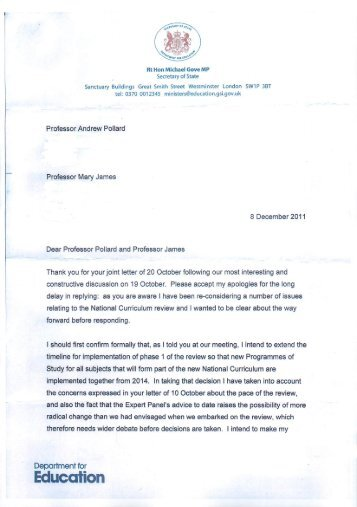 5. Letter from Michael Gove to Andrew Pollard and Mary James ...