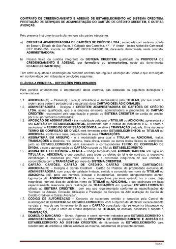 CONTRATO DE CREDENCIAMENTO E ADESÃO DE ... - Creditem