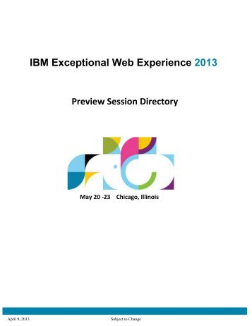 IBM Exceptional Web Experience 2013
