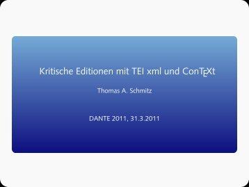 Kritische Editionen mit TEI xml und ConTEXt