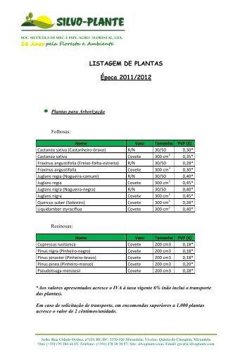 tabela de plantas e preços (época 2011-2012) - Silvoplante