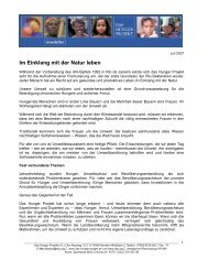 Newsletter 2007-07 - Das Hunger Projekt