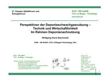 Perspektiven der Deponieschwachgasnutzung – Technik ... - IB GmbH