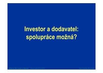 Investor a dodavatel: spolupráce možná? - MS Group