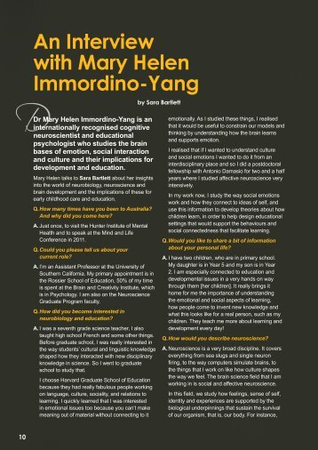 4. An interview with Mary Helen Immordino-Yang - Hunter Institute of ...