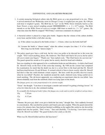 Exponential word problems worksheet answers