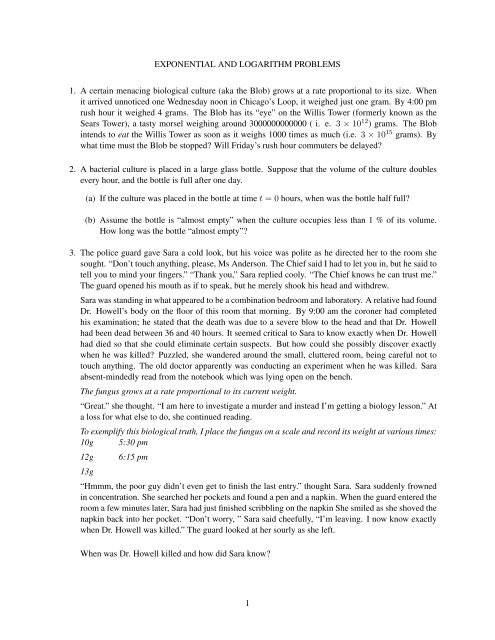 Exponential and Logarithmic Word Problems Worksheet