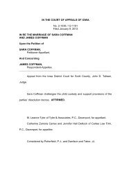 IN THE COURT OF APPEALS OF IOWA No. 2-1038 / 12-1191 Filed ...