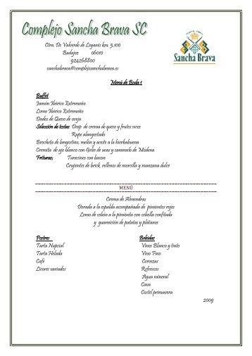 Menús de Bodas - Complejo Sancha Brava