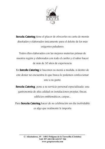MENUS BODAS SERCOLU CATERING 2013 - Grupo Sercolu