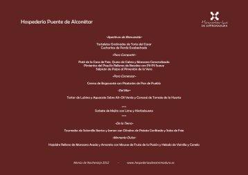 Menús de Nochevieja - hospederias de Extremadura