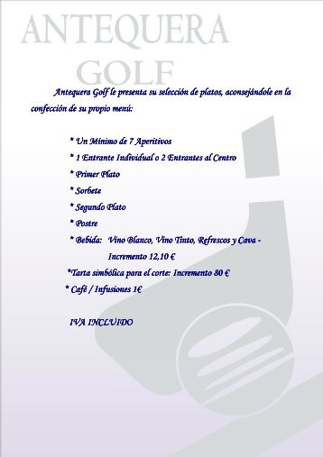 Descargar menú Hotel Antequera Golf - bodas y eventos ...
