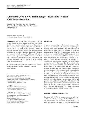 Umbilical Cord Blood Immunology—Relevance to Stem Cell ...