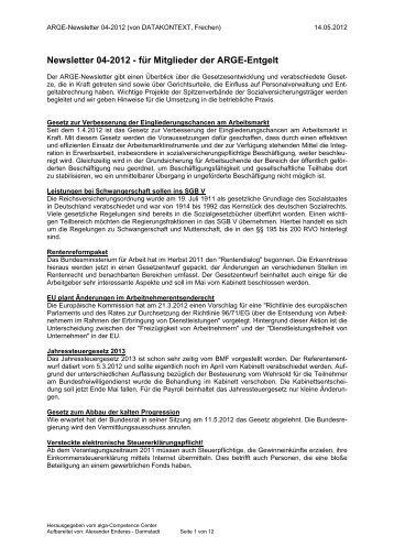 Newsletter 04-2012 - für Mitglieder der ARGE ... - DATAKONTEXT