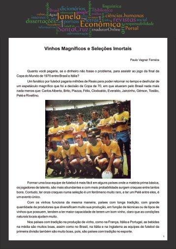 Vinhos Magníficos e Seleções Imortais - Faculdades Santa Cruz