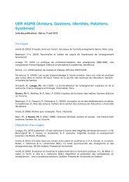 UER AGIRS (Acteurs, Gestions, Identités, Relations ... - HEP Vaud