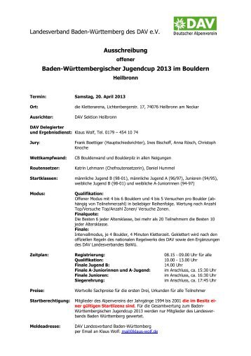 Ausschreibung - DAV Sektion Heilbronn