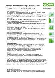 Anmelde-und Teilnahmebedingungen für Kurse und Touren