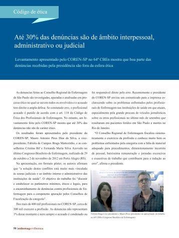 Até 30% das denúncias são de âmbito interpessoal ... - Coren-SP