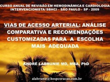 Vias de acesso arterial: análise comparativa e ... - SBHCI
