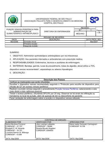 Punção venosa periférica para administração de ... - Unifesp