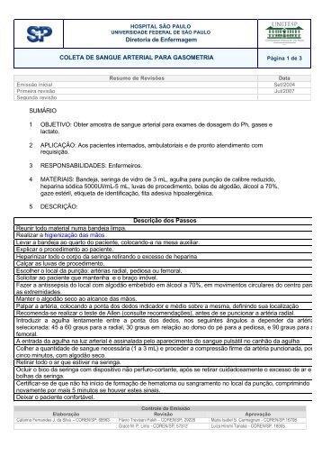 coleta de sangue arterial para gasometria - Unifesp