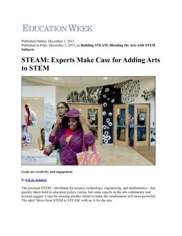 STEAM: Experts Make Case for Adding Arts to STEM