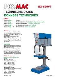 TECHNISCHE DATEN DONNEES TECHNIQUES BX-820VT - Tool AG