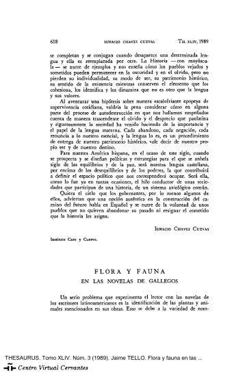 Flora y fauna en las novelas de Gallegos