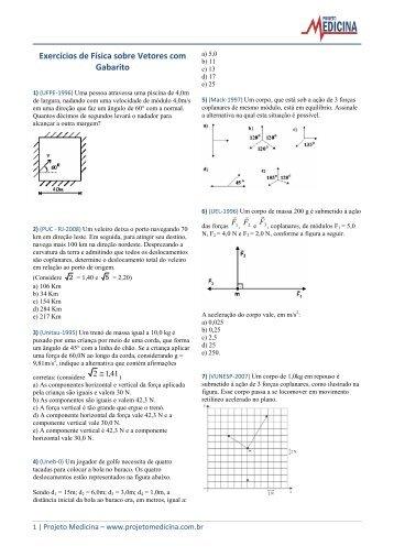 Exercícios de Física sobre Vetores com Gabarito - Projeto Medicina