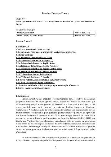 relatório parcial de pesquisa - Grupo de Pesquisa Direito e Pobreza