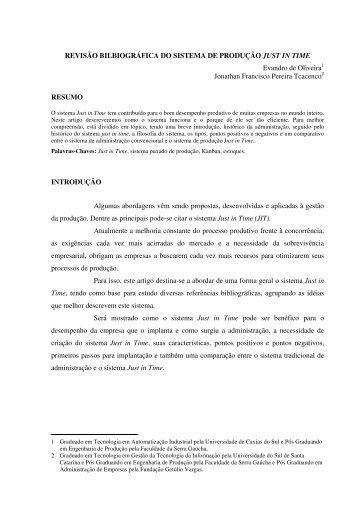 REVISÃO BILBIOGRÁFICA DO SISTEMA DE PRODUÇÃO JUST IN ...