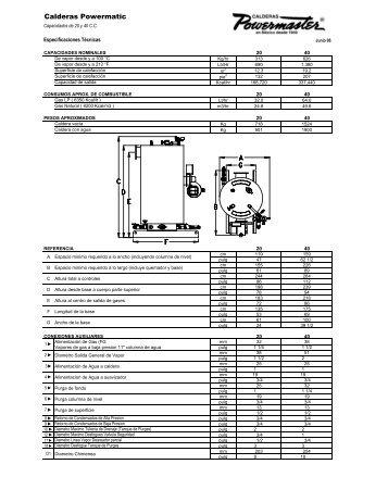 Especificaciones Tecnicas Powermatic 06 - Calderas Powermaster
