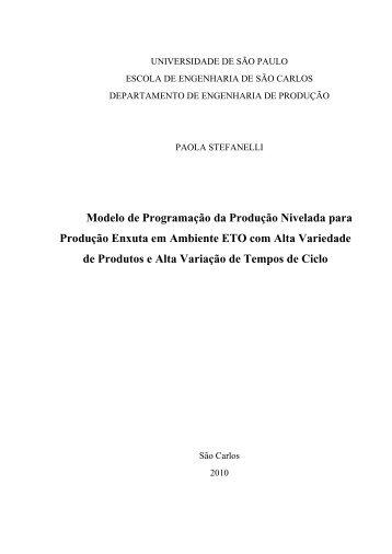 Modelo de Programação da Produção Nivelada para Produção ...
