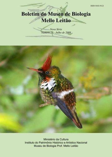 Boletim do Museu de Biologia Mello Leitão - Setor de Ornitologia