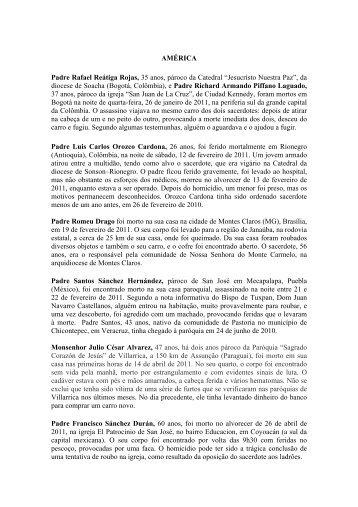 AMÉRICA Padre Rafael Reátiga Rojas, 35 anos, pároco da ...