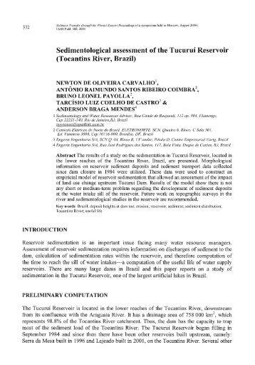 Sedimentological assessment of the Tucuruí Reservoir - IAHS