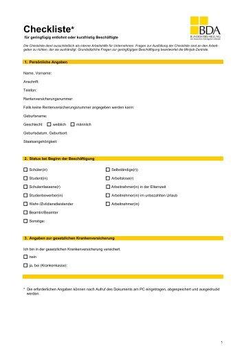 Checkliste Geringfügige Beschäftigung Dok 5