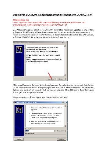 Update von DCAMCUT 5.0 bei bestehender Installation von ...