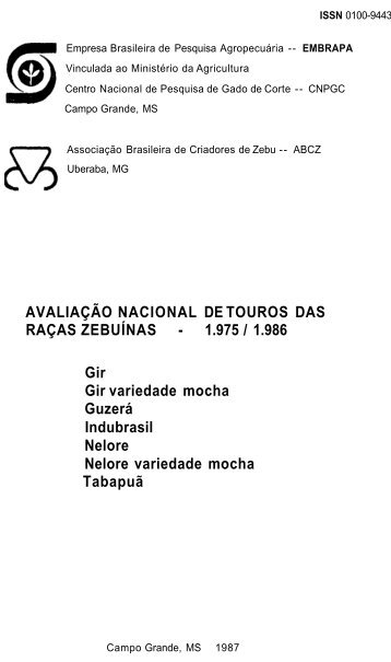 AVALIAÇÃO NACIONAL DE TOUROS DAS RAÇAS ... - Embrapa