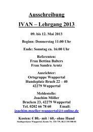 Ausschreibung IVAN – Lehrgang 2013 - OG Xanten