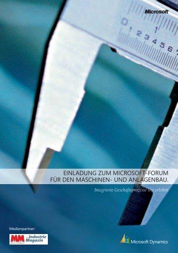 einladung zum microsoft-forum für den maschinen- und anlagenbau.
