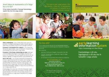 Early Learning Information System Brochure - Samoan - ECE Lead