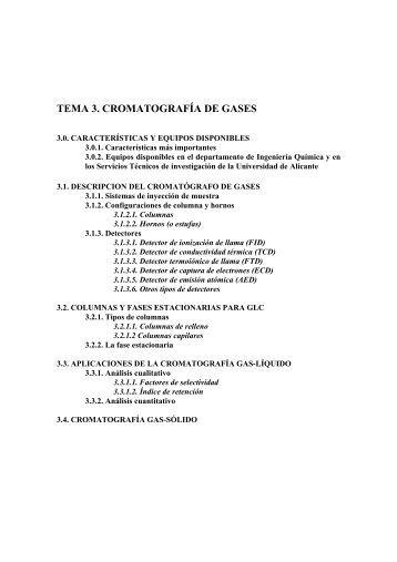 tema 3. cromatografía de gases - RUA - Universidad de Alicante