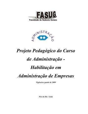 Projeto Pedagógico do Curso de Administração ... - FASUG.edu