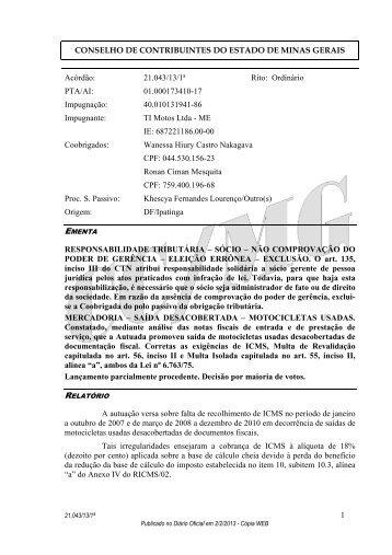 21043 - Secretaria de Estado de Fazenda de Minas Gerais